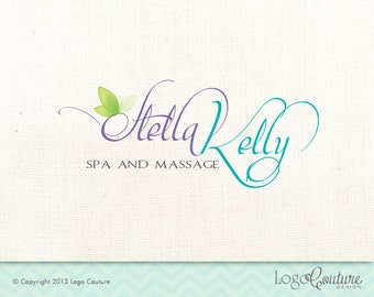 Premade Spa and Massage Logo - Stella Kelly - Your Name - Leafs - Spa and Message