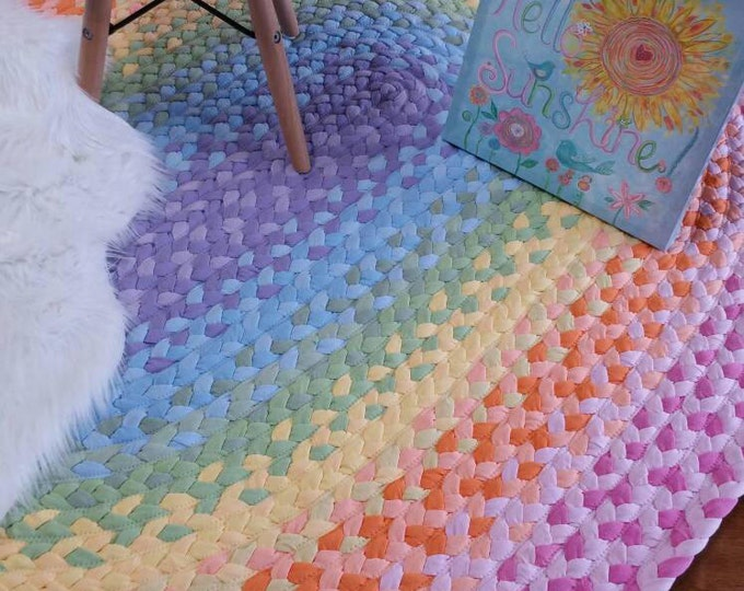 reserved for Hayal pastel rainbow braided rug , lavender, light blue, pistchio, yellow, peach  and pink