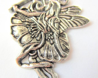 4 Flower fairy charms antique silver fairy pendants 35mm 30mm