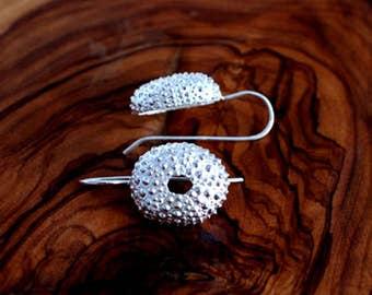 Sea urchin Earrings silver
