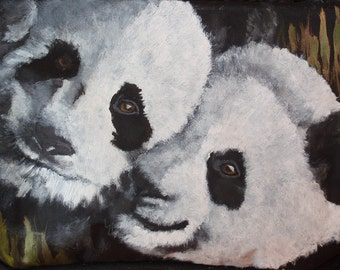 Cooler - 'Ben and Bob' two Giant Pandas painted on cooler