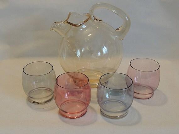 Vintage Mid Century 5 Pc Tinted Multicolor Glass Juice Set.. Pitcher & 4 Glasses