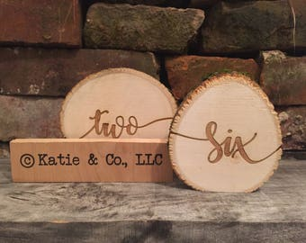 Table Numbers Made From Reclaimed Wood