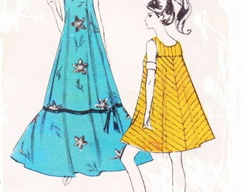 1960s Wikiwiki Womens Mod Short or Long MuuMuu or Tent Dress Polynesian Sewing Pattern 181 Size Small Size 6 10 Bust 30 32 Vintage Patterns