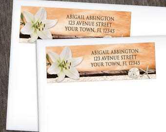Autumn Beach Address Labels - Lily Seashells Sand - Orange Rustic Brown Wood and Beige Sand - Printed Address Labels