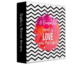 CHEVRON WATERCOLOR HOMEMADE Love Personalized Recipe Binder -  Recipe Organizer; Recipe Keeper; Wedding Gift; Bridal Shower Gift