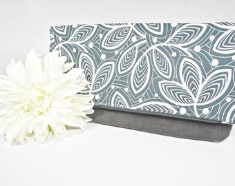 Sale Fold Over Clutch | Gray Floral Everyday Clutch | Wedding Clutch | Evening Clutch Purse | Waxed Canvas Zipper Clutch | Bridesmaid Clutch