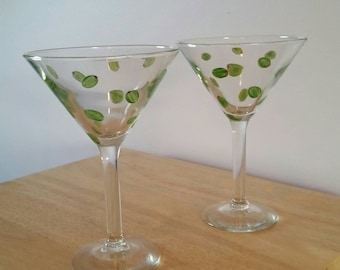 SET- Olive Dirty Martini Glass Set- Personalization Available!