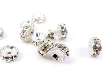 9 x Swarovski crystal silver 5mm connectors