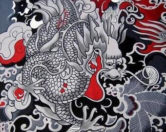 Rockabilly Fabric - Tattoo - Black - Zen - Japanese - Cotton Fabric - Boy Fabric - Novelty - Alexander Henry - Tatsu - Dragon - Remnant