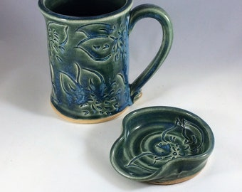 Coffee Mug and Teaspoon Rest Set, Ceramic Mug and Spoonrest Set with Dahlias Carved in Teal