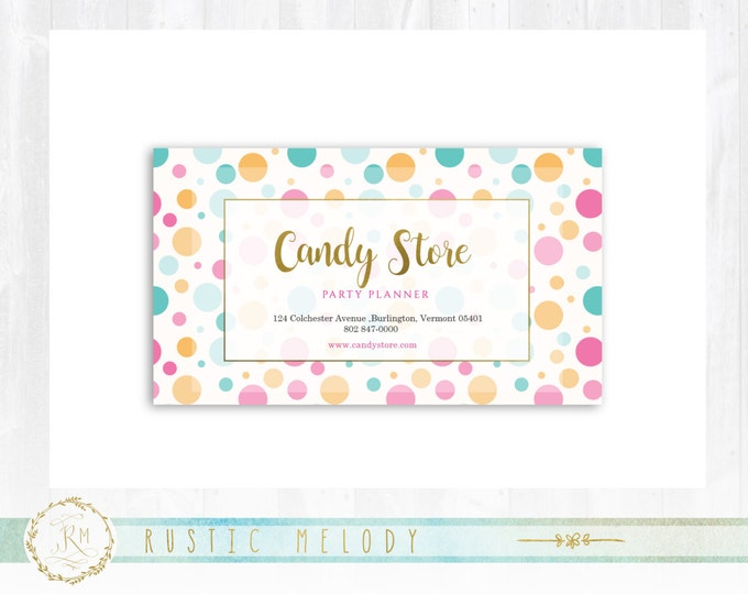 Premade business card rusticmelody premade candy business card gold business card photography business card thank you card colourmoves Image collections