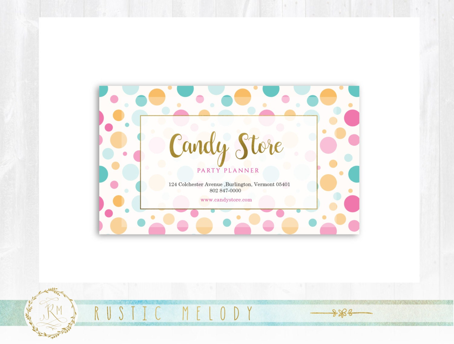 Premade Candy Business Card, Gold Business Card , Photography ...