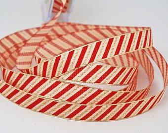 Candy Cane Ribbon 5/8 inch Metallic Edge -- Gold Red Cream