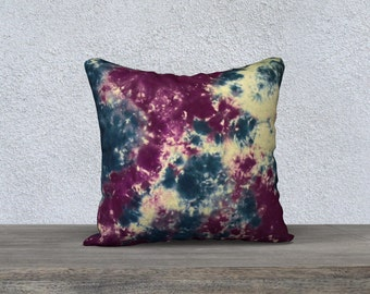 Outdoor Tie Dye Throw Pillow-Blue Purple -Weather-resistent-UV coating-Square Rectangle-14x20, 16x16, 18x18, 20x20