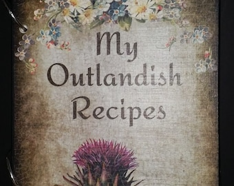 Outlander Book Inspired Scottish Thistle and Roses Vintage Look Blank Recipe Book Personalized Free