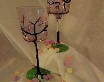 Sakura Black Stemmed Wine Glasses