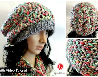 Loom Knitting PATTERNS Hat & Cowl Slouchy Beanie Tam with Step by Step Video Tutorial | Loomahat