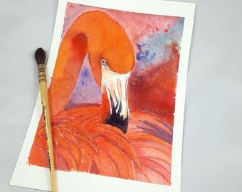 Red Flamingo, original watercolor, tropical bird portrait, ooak, baby shower gift idea, baptism, birth, home office decoration, nursery art.