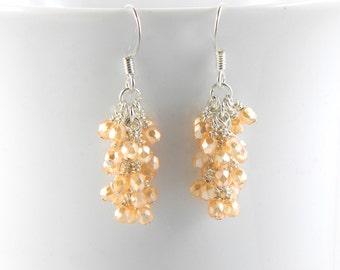 Pearl Light Orange Cluster Dangle Earrings on Surgical Steel, Orange Earrings