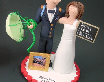 Teacher Bride Marries Paratrooper Groom Wedding Cake Topper, Soldier's Wedding Cake Topper, Military Wedding Cake Topper, Navy  Cake Topper