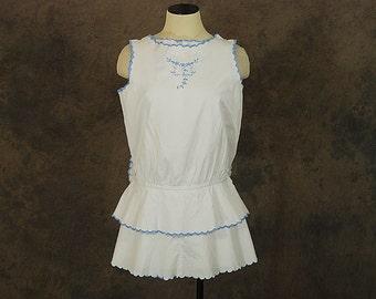 vintage 20s Blouse - 1920s Embroidered Blouse Dropwaist Shirt White Cotton Peasant Blouse Sz S