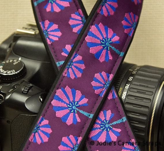 """Camera Strap Dandelions Pink and Blue on Purple in 1.5"""" Wide Custom Padded Fits DSLR SLR 3291"""