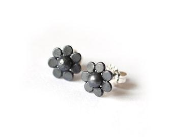 Recycled Sterling Silver Daisy Flower Stud Earrings oxidized black