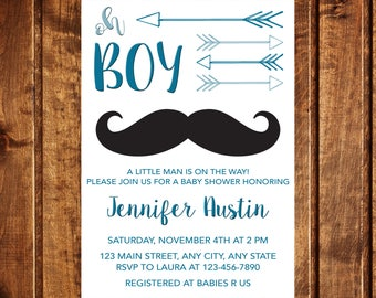 Oh Boy Baby Shower Invitation, Mustache Invitation, It's a boy, Boy baby shower, Arrows Baby Shower Invitation, Tribal Baby Shower, Oh Baby