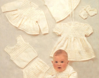 Dress, Coat, Jacket, Bonnet, Bootees, Mittens, Singlet and Pants/ Pattern PDF Baby Layette/3-6 months/Knitting Pattern- 761