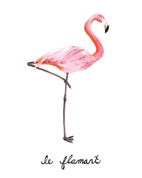 Flamingo Painting, Le Flamant, Pink Cute Gift Idea, Home Decor, Summer Tropical Art Print 8x10