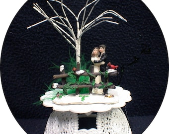 Winter Garden Snow christmas Red cardinals Country western Farmer Wedding Cake Topper Funny Groom top