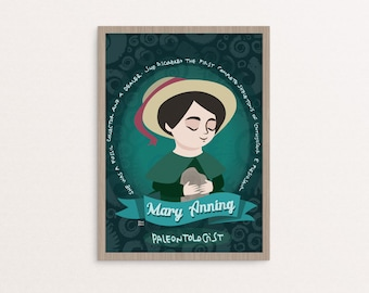 Mary Anning poster, women in science illustration, scientist print, Mary Anning paleontologist and fossils collector, paleontologist gif