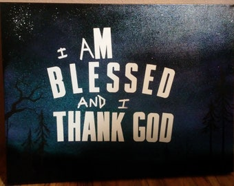 "Hand made folk art style painting ""I am blessed"""