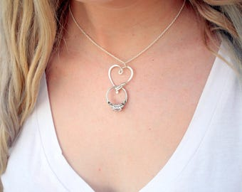 SALE - Ring Holder Necklace in Sterling Silver, Heart Clasp Ring Holder Pendant, Argentium Silver Pendant