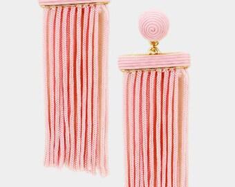 Thread Dome Tassel Earrings Pink
