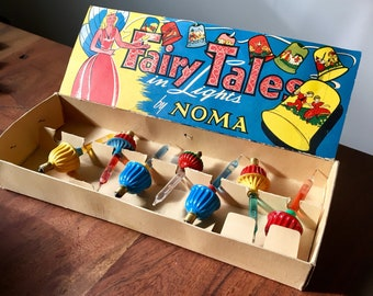 Vintage Noma Bubble-Lites, Bubbling Christmas Tree Lights Set of 7, Mismatched Fairy Tales Box, Red Yellow Green Blue, circa 1950s 110/120V