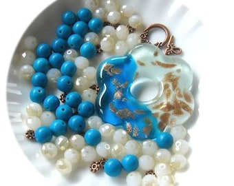 Murano Glass Flower Pendant, Blue Magnesite,  White Crystal Glass Beads, DIY Jewelry Kit, Bead Combo, Jewelry Making Beads, Bead Kit, Design