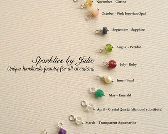 ADD a TINY Birthstone Charm, 3mm - 4mm in Diameter, Genuine Gemstone, Choose Sterling Silver or Gold Filled Ball Headpins
