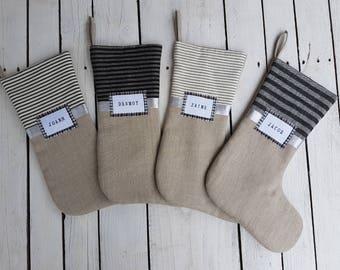 Vintage inspired stocking, ticking stocking, christmas stocking, linen stocking, burlap stocking, striped stocking