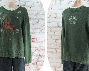 winter cardigan, Reindeer sweater -  Christmas party sweater ,green sweater, snowflake sweater , Holiday sweater, size large - # 157
