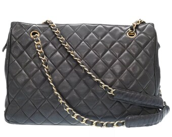 Chanel Large Quilted Shopping Tote Shoulder Bag