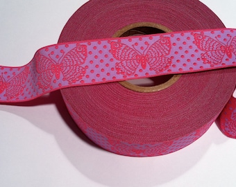 Pink BUTTERFLIES on Purple Jacquard Ribbon - 1.5""