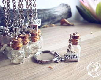 Dandelion Keychain. Make a wish bottle keychain. Dandelion seeds vial wish tibetan silver medal. Whimsical gifts dreamy wedding communion