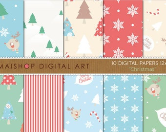 Digital Paper 'Christmas' Blue, Green, Red, Beige, White.. Tree Patterns, Stripes, Snow Flakes, Merry Christmas Backgrounds