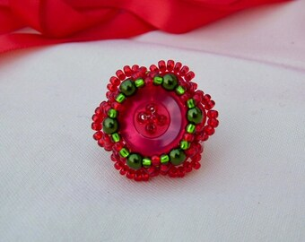 Dahlia Ring - Summery Ring - Red Ring - Flower Ring