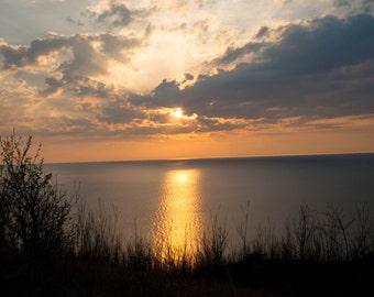 Copper Sunset Lake Michigan