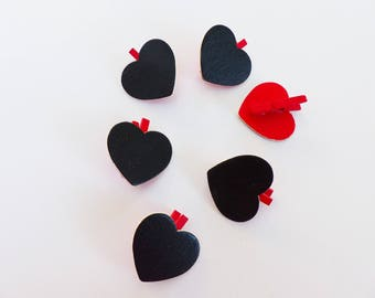 6 mini clothespins in black and red heart shaped wood