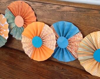 Rosette Pinwheels-Turquoise & Orange, Hanging Party Decor, Wedding, Shower, Birthday, Country, Rustic