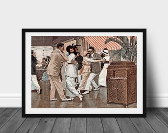 Living Room Art, Family Room Art, Bedroom Art, Couples Dancing to Victrola - RESTORED 1921 Art Print  #171   FREE SHIPPING